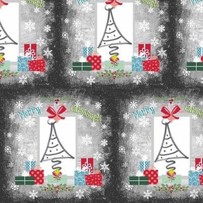Christmas Tree Quilt-Merry Christmas blue green