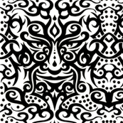 Tribal mask 3 black on white