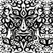 Tribal mask 3 black on white