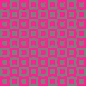 Rippled Hot Pink Squares in Squares