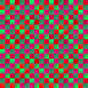 "Magenta and Lime Green Checkerboard 1"" squares"