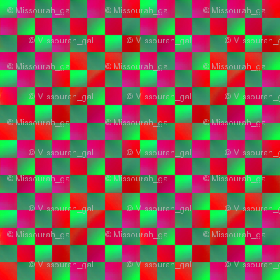 Fuchsia and Lime Green Checkerboard 1/2 inch