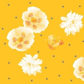 flowersnbees-yellow