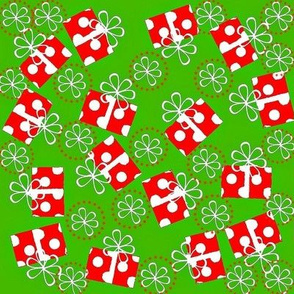 Christmas red polka dot present