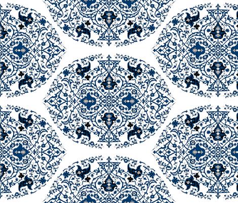 16th Century Medallion Ushak: China Blue fabric by pond_ripple on Spoonflower - custom fabric