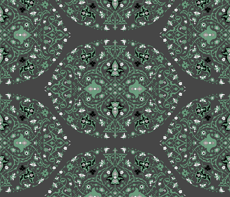 16th Century Medallion Ushak: Forest Gray fabric by pond_ripple on Spoonflower - custom fabric