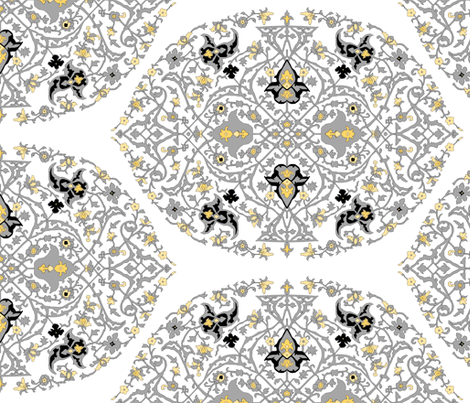 16th Century Medallion Ushak: Silver and Gold fabric by pond_ripple on Spoonflower - custom fabric