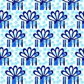 Blue stripe and polka dot present