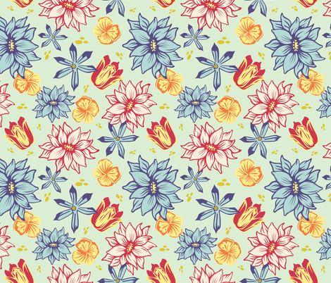Tulips And Scillas fabric by rainink on Spoonflower - custom fabric