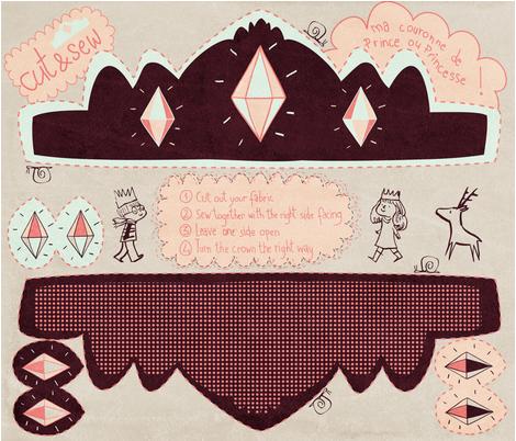 la couronne de prince ou de princesse fabric by agathe_moreau on Spoonflower - custom fabric