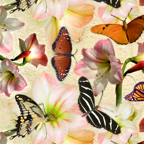 Amaryllis and Butterflies fabric by eclectic_house on Spoonflower - custom fabric