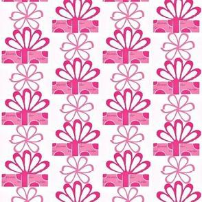 Purple polka dot present and daisies
