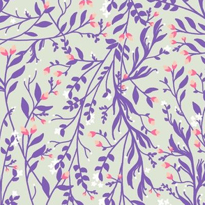 Regency Floral in Purple Vines Peach Pink Blossom