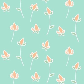 Blossom buds in Peach and Mint