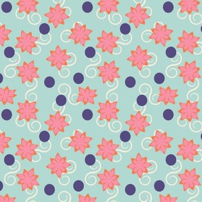 Abstract flowers, dots, and swirls on palest aqua