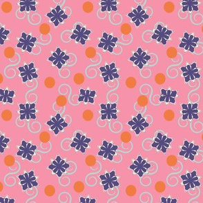 Abstract flowers, dots, and swirls on hot pink