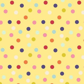 Wild polka dots on butter yellow, version I
