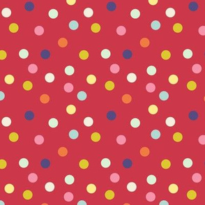 Wild polka dots on red