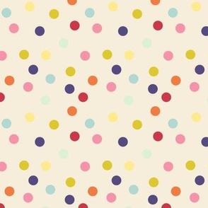 Wild polka dots on ivory