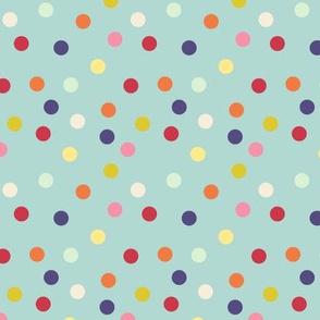 Wild polka dots on palest aqua