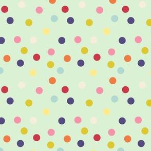 Wild polka dots on palest green
