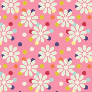 Hippie daisies and dots on pink