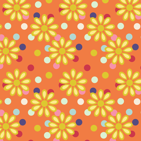 Hippie daisies and dots on tangerine fabric by bargello_stripes on Spoonflower - custom fabric