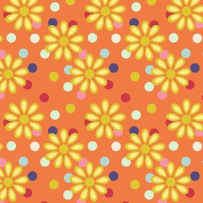 Hippie daisies and dots on tangerine