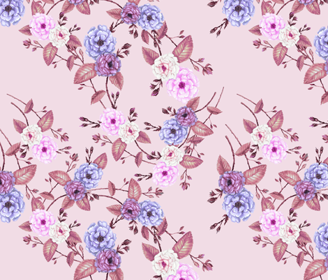 Bridesmaid Rose in Lilac and Pink fabric by thistleandfox on Spoonflower - custom fabric