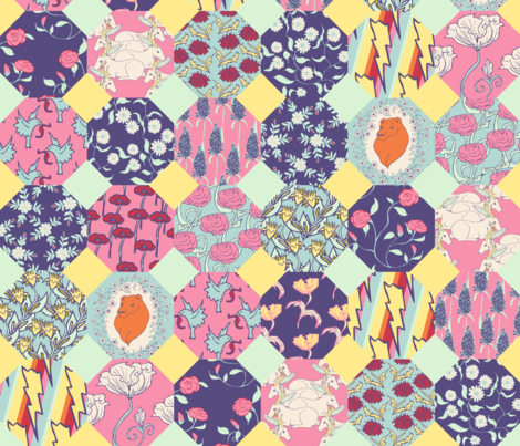 Octagon Spring Quilt fabric by pond_ripple on Spoonflower - custom fabric