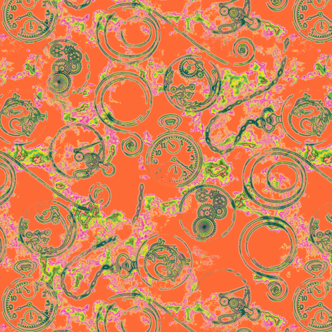 Strange Time--Tangerine fabric by artgarage on Spoonflower - custom fabric