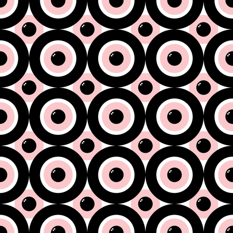 Be Seeing You ~ Dauphine, Black and White fabric by peacoquettedesigns on Spoonflower - custom fabric