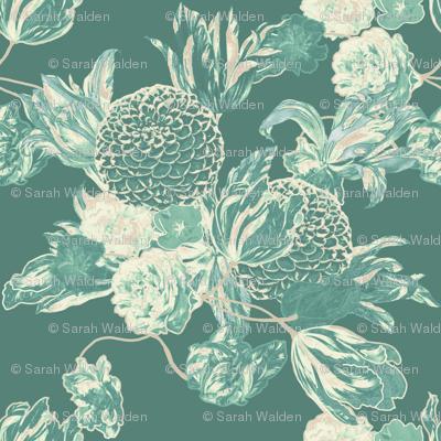 mid century modern floral ~ Hummingbird ~ Large