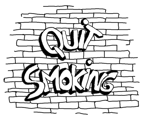 QUIT SMOKING BW WHITE 1 fabric by paysmage on Spoonflower - custom fabric