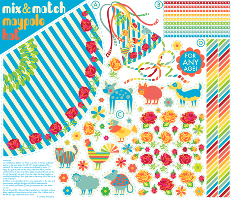 Mix & Match Maypole Party Hat fabric by christinewitte on Spoonflower - custom fabric