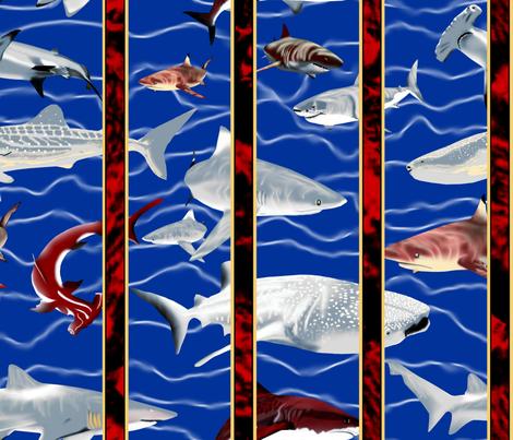 Shark Aquarium 2. fabric by house_of_heasman on Spoonflower - custom fabric