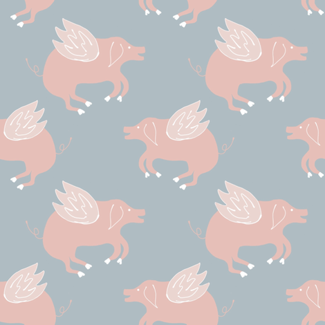 When pigs fly fabric by samdraws on Spoonflower - custom fabric