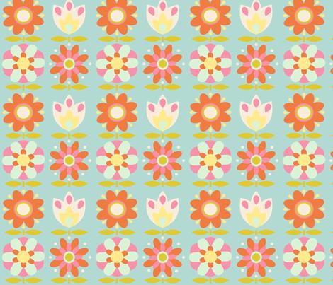 power_flower_fond_aqua_M fabric by nadja_petremand on Spoonflower - custom fabric