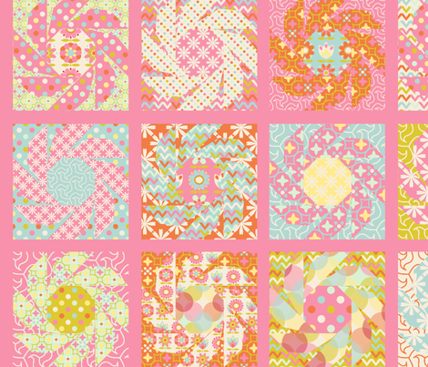Spring_Floral_Cheater_Quilt_Block_L fabric by nadja_petremand on Spoonflower - custom fabric