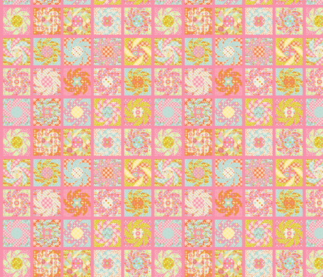 Spring_Floral_Cheater_Quilt_Block_S fabric by nadja_petremand on Spoonflower - custom fabric