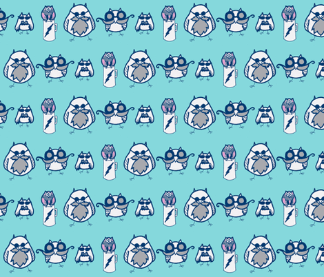 Manly Owls Aqua and Navy fabric by kbexquisites on Spoonflower - custom fabric
