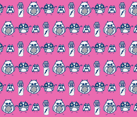 Manly Owls Hot Pink and Navy fabric by kbexquisites on Spoonflower - custom fabric