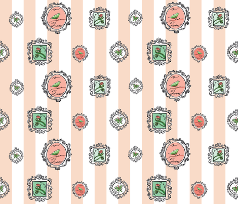 birdie frames fabric by ladybugjen on Spoonflower - custom fabric