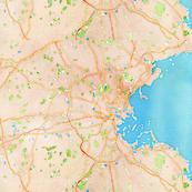Boston region watercolor map fabric