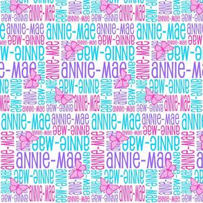 Personalised Name Design - Butterflies Purple Pink Aqua