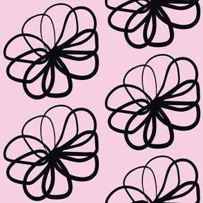 Floral Pink Black