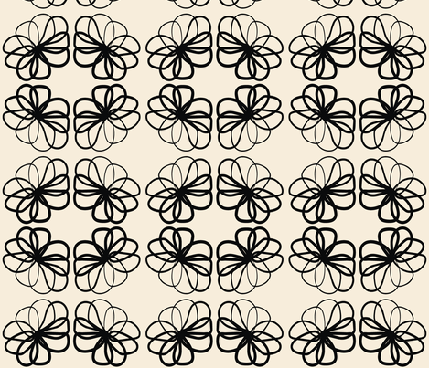 Floral Black & Off White fabric by pennyroyal on Spoonflower - custom fabric