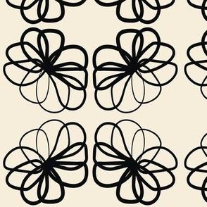 Floral Black & Off White