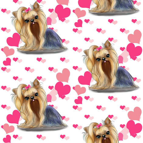 Yorkie Pink Hearts Medium  fabric by catiacho on Spoonflower - custom fabric
