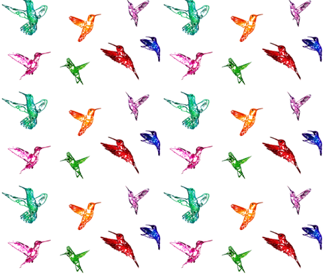 Hummingbirds Rainbow fabric by purplish on Spoonflower - custom fabric